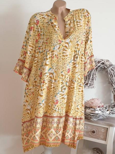 Viskose Kleid 40 42 44 gelborange gemustert Tunika Hängerchen