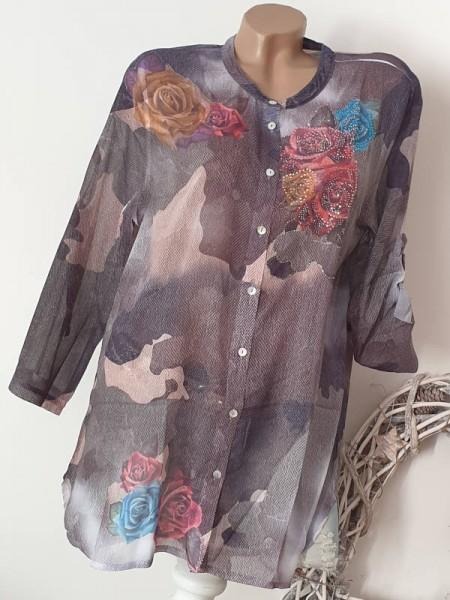 Camouflage Rosen Glitzer Print Chiffon Bluse Hemdbluse S/M 36 38 MISSY Hemd NEU