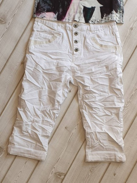 4XL 48 Jeans Bermuda Capri 3/4 Hose KAROSTAR kurze Sommerhose Baggy weiss
