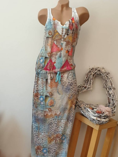 Maxikleid Kleid MISSY XL 42 Tunnelzug tiefe Taille bunter Ibiza Stil Print weiss
