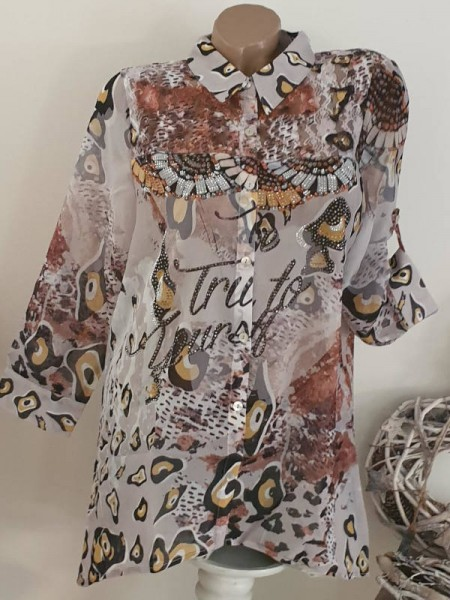 XL 42 MISSY Bluse hinten länger Knopfleiste Hemdbluse Glitzer NEU