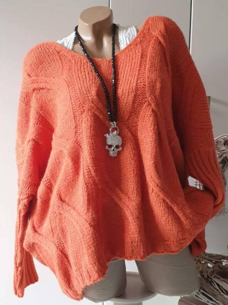 oversized Pullover Zopfmuster orange 38 40 42 44 Strick Pulli V-Neck