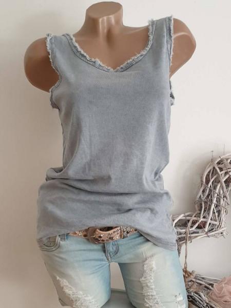 grau Top Shirt 38 40 42 44 Trägertop Baumwolle Longtop unfinished Look