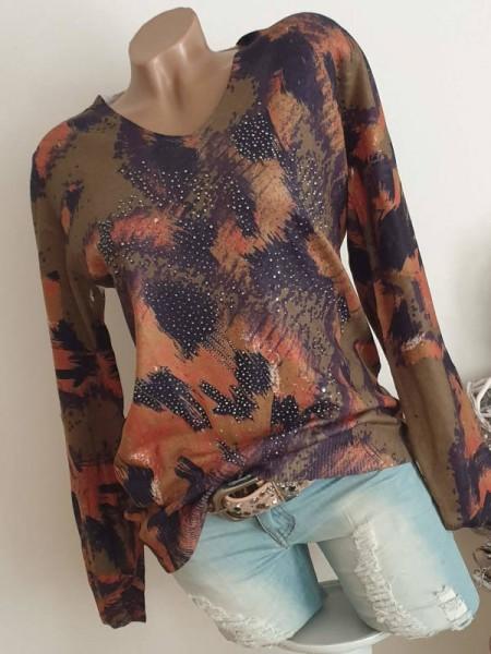 Pullover V-Neck MISSY L/XL 40 42 Pulli Feinstrick dunkelgrün gemustert Print