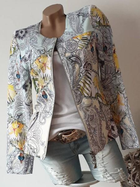 Paisley Tropical Print Zipperjacke L 40 Jacke MISSY Glitzer Doppelzipper Neu