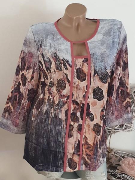 Langarmshirt Shirt Leopard jeans Mix Longsleeve L 40 Tunika NEU MISSY