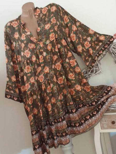 Tunika Kleid 40 42 44 Stiefelkleid oliv gemustert Hängerchen Viskose
