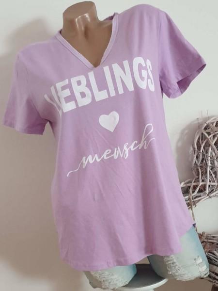 Shirt V- Neck ausgefranst T-Shirt mit Print lila 36 38 40 Italy