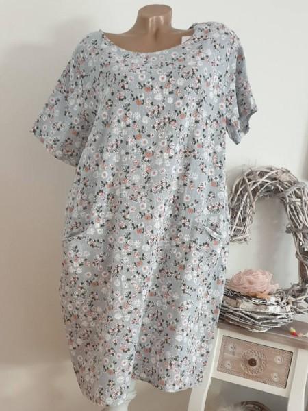 Kleid 42 44 Tunika Leinen Optik grau floral A-Linie Taschen Kurzarm Italy