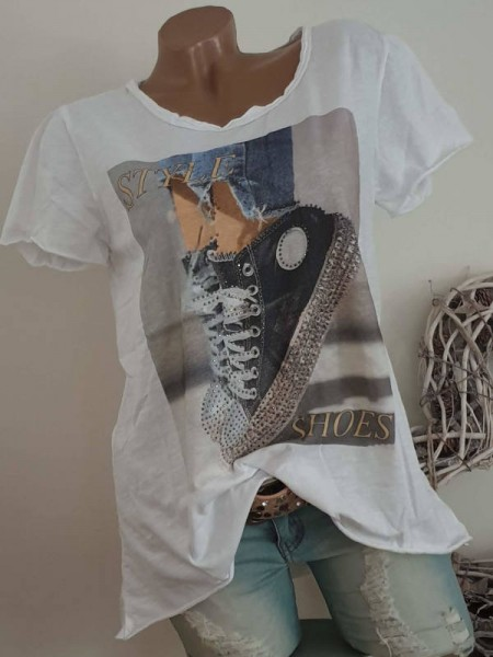 T-Shirt Shirt 38 40 42 Tunika Fashion Print Glitzer Nieten Rollbündchen