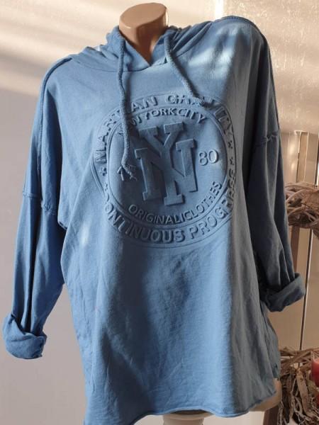jeansblau NEU 40 42 44 long Tunika Hoodie Kapuze Print sichtbare Aussennähte