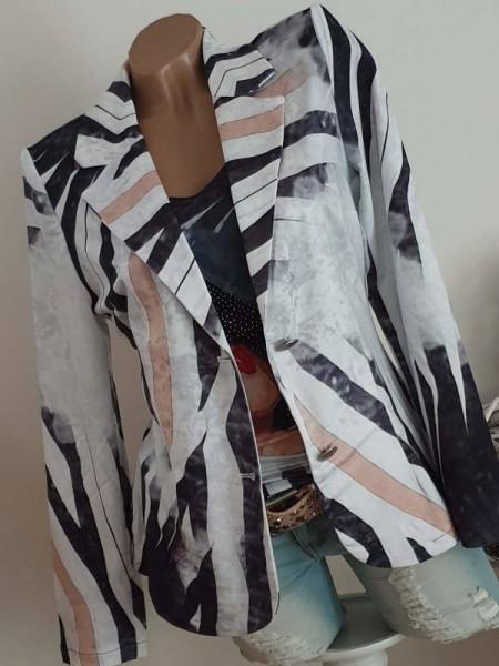 Kurzblazer 2-Knopf schwarz grau weiss Frau mit Hut S 36 MISSY Glitzer Blazer Jackett