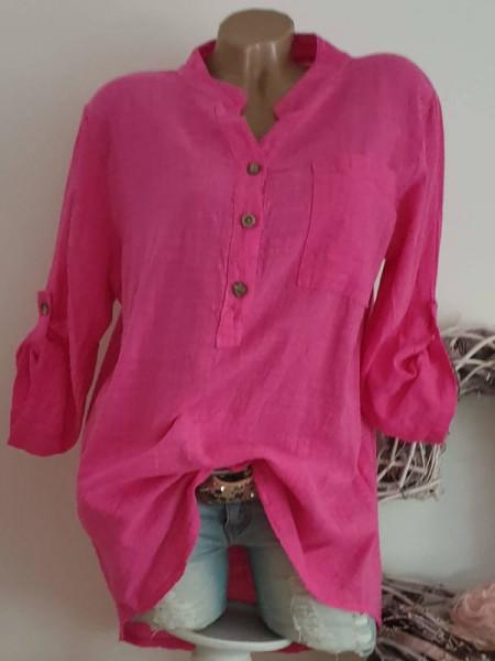 Fischerhemd Hemdbluse 38 40 42 pink Tunika Bluse Neu Leinenoptik Italy