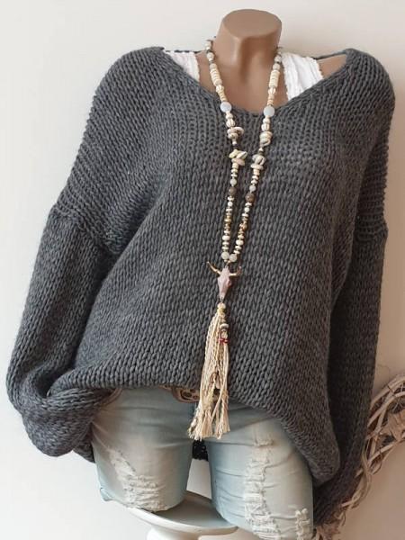 oversized Grobstrick Knit Pullover dunkelgrau 38 40 42 44 Pulli Ärmel überschnitten