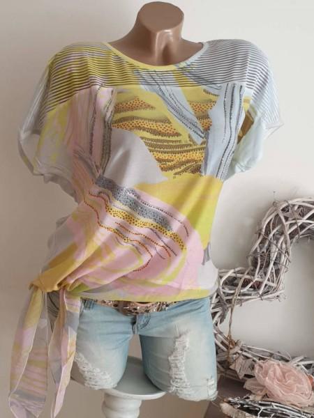 S 36 38 MISSY Shirt Tunika seitlich zum binden Ausbrenner Print