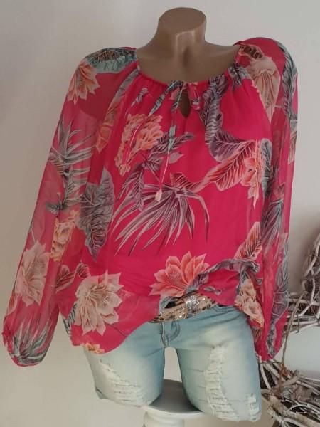 Chiffon Bluse 38 40 42 Tunika Bluse pink floral Chiffonbluse Italy