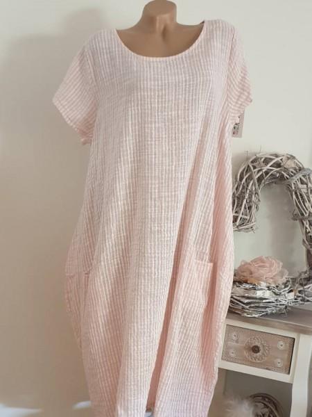 A-Linie Taschen Trägerkleid 42 44 46 ärmelloses Kleid Leinenstruktur Italy