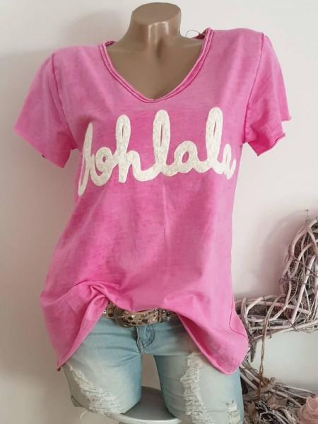 38 40 42 Tunika pink Italy T-Shirt Shirt Flockprint tailliert Rollbündchen
