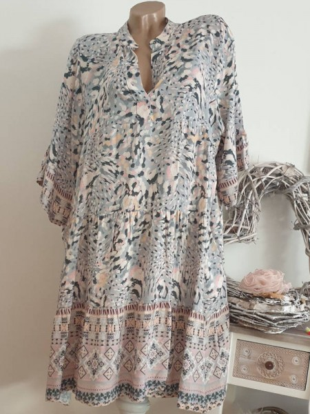 Viskose Kleid 40 42 44 grau gemustert Tunika Hängerchen