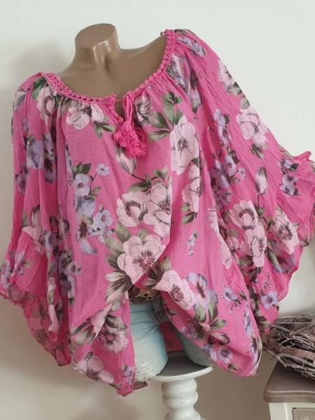 weite Ärmel pink geblümt Tunika Bluse 44 46 48 50 Baumwolle Italy