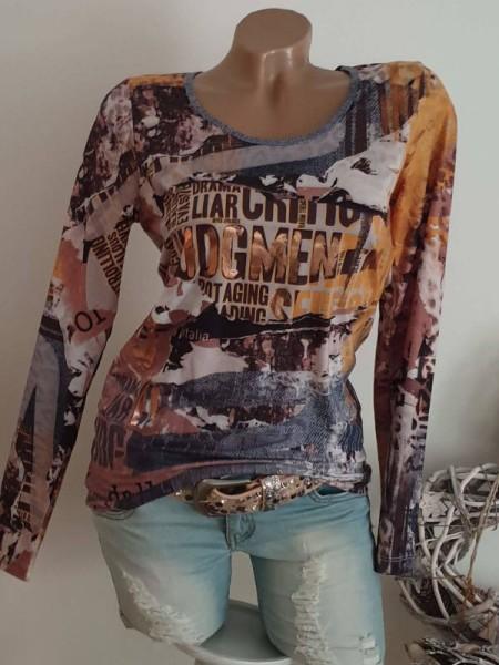 XL 42 Letterprint roségold Print MISSY Langarmshirt Shirt bunt Longsleeve NEU