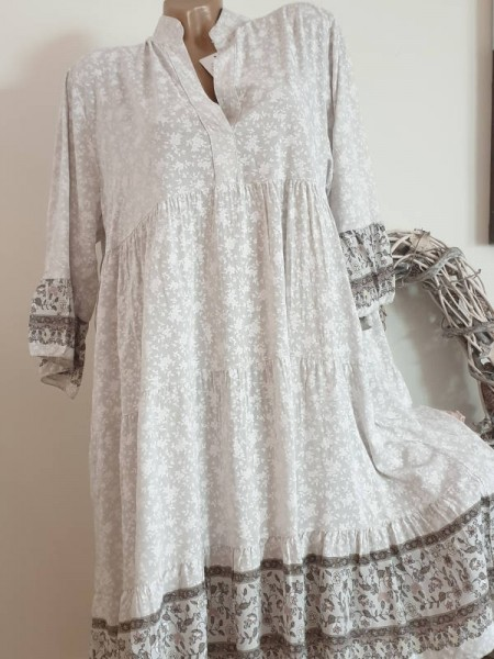 Tunika Kleid 42 44 46 Hängerchen Viskose grau gemustert