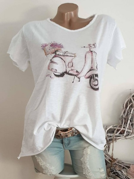 T-Shirt Shirt 38 40 42 Tunika rosa Roller Glitzer Nieten unfinished
