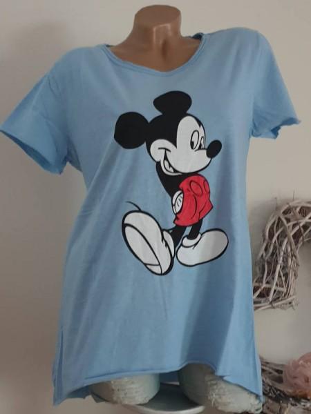 T-Shirt Shirt 38 40 42 Tunika Mouse Print hinten länger jeansblau
