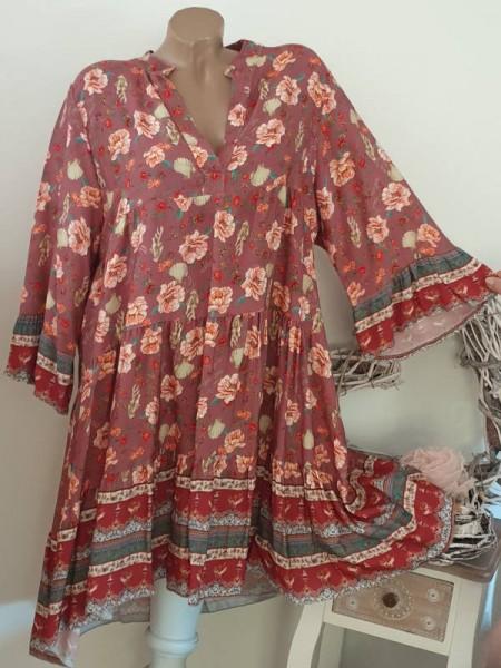 Tunika Kleid 40 42 44 Hängerchen Viskose beere gemustert