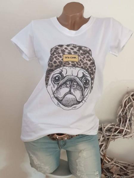 Italy T-Shirt Shirt cooler Mopsprint tailliert Rollbündchen 38 40 42 Tunika weiss