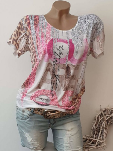MISSY T-Shirt Shirt NEU Tunika L 40 bunt Glitzer Nieten Print
