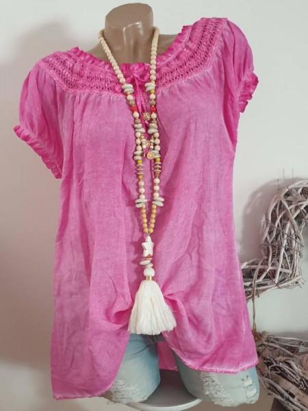pink Bluse 40 42 44 Tunika Off Shoulder Italy Carmen Viskose luftig