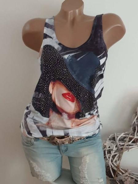 Longtop Top Trägertop Shirt S 36 schwarz grau weiss Frau mit Hut MISSY Glitzer Nieten