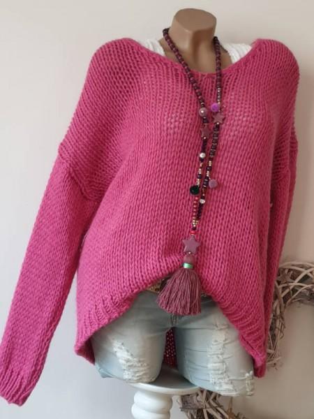 oversized Grobstrick Pullover pink 40 42 44 Pulli Ärmel überschnitten