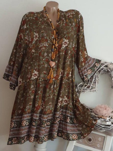 Tunika Kleid 40 42 44 Hängerchen oliv grün floral gemustert Viskose Italy