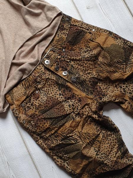 Gr. 36 Camouflage & Animal Print Jeans Baggy Hose PLACE DU JOUR Knopfleiste