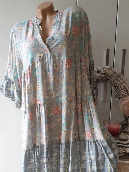 grau Kleid 40 42 44 gemusterte Tunika Viskose Hängerchen