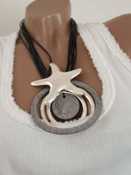 Kurze mehrreihige Kette Halskette Damenkette Amulett Seestern schwarz silber Neu
