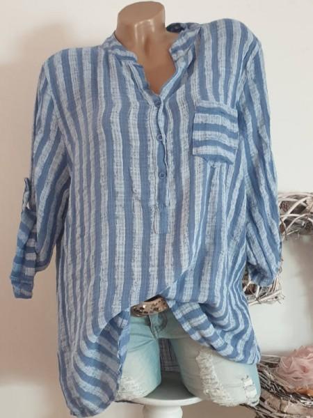jeansblau blau Fischerhemd Leinen Optik gestreift Hemdbluse Bluse 38 40 42 Tunika