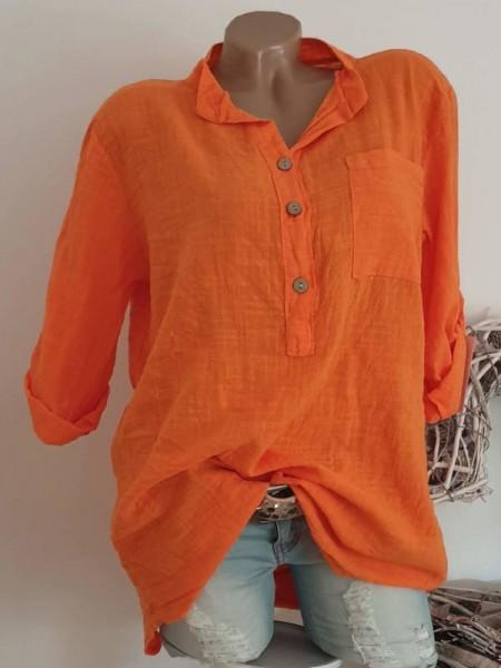 orange Hemdbluse 38 40 42 lässige Tunika Leinenoptik Italy Bluse Neu
