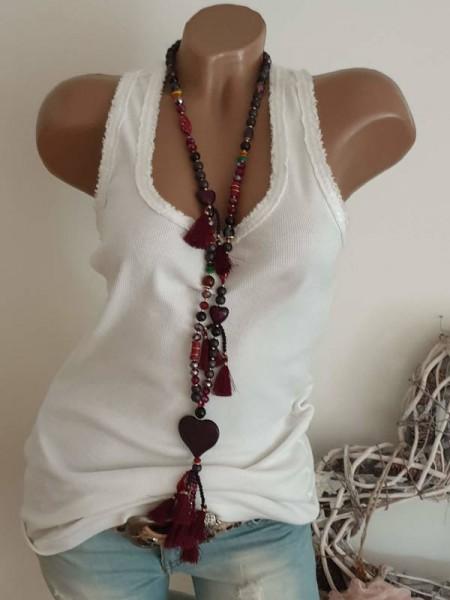 bordeaux Kette Herz Quaste Bommeln Glas Perlen Halskette lange Glasperlen