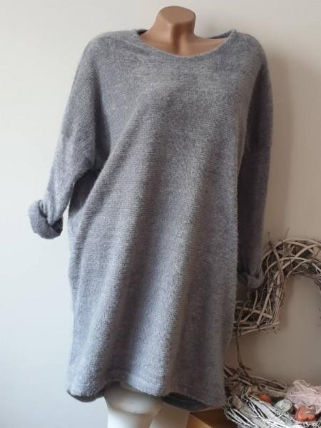 grau 40 42 44 46 Flausch Tunika Kleid hinten länger Viskose Wolle Neu