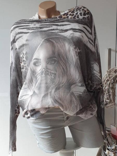 Pulli Feinstrickpulli Fashionprint Tunika 40 42 44 Pullover Fledermausarm