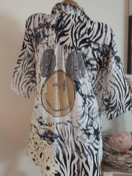 XL 42 MISSY Knopfleiste weiss Mouse Tunika Bluse Hemdbluse hinten länger Glitzer
