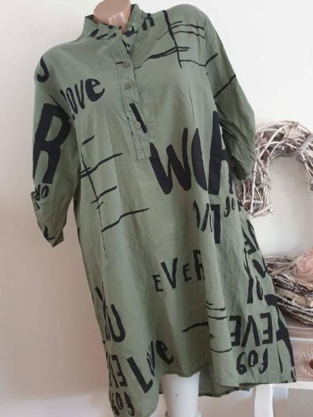 40 42 44 Bluse Hemdbluse Hemdblusenkleid hinten länger Kleid oliv grün schwarz