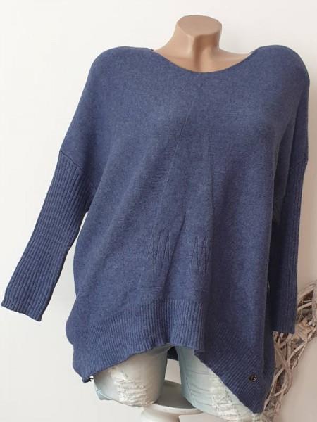 Pullover Strickpulli vorne abgerundet oversize 38 40 42 Pulli hinten länger blau