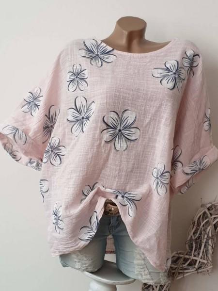 Bluse rosa mit Blumen Tunika Neu 42 44 46 oversized Italy