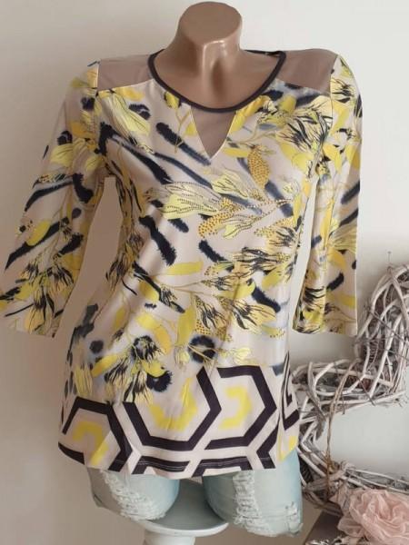 MISSY S 36 Longsleeve Tunika Shirt 3/4 Ärmel stretchig etwas Netzeinsatz NEU