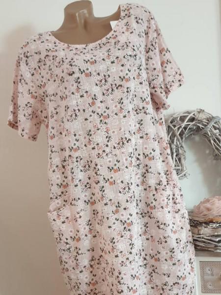 Kleid 42 44 Tunika Leinen Optik rosa floral A-Linie Taschen Kurzarm Italy
