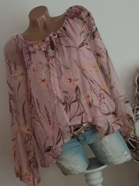 Bluse rosa floral Chiffonbluse Chiffon Bluse 38 40 42 Tunika Italy